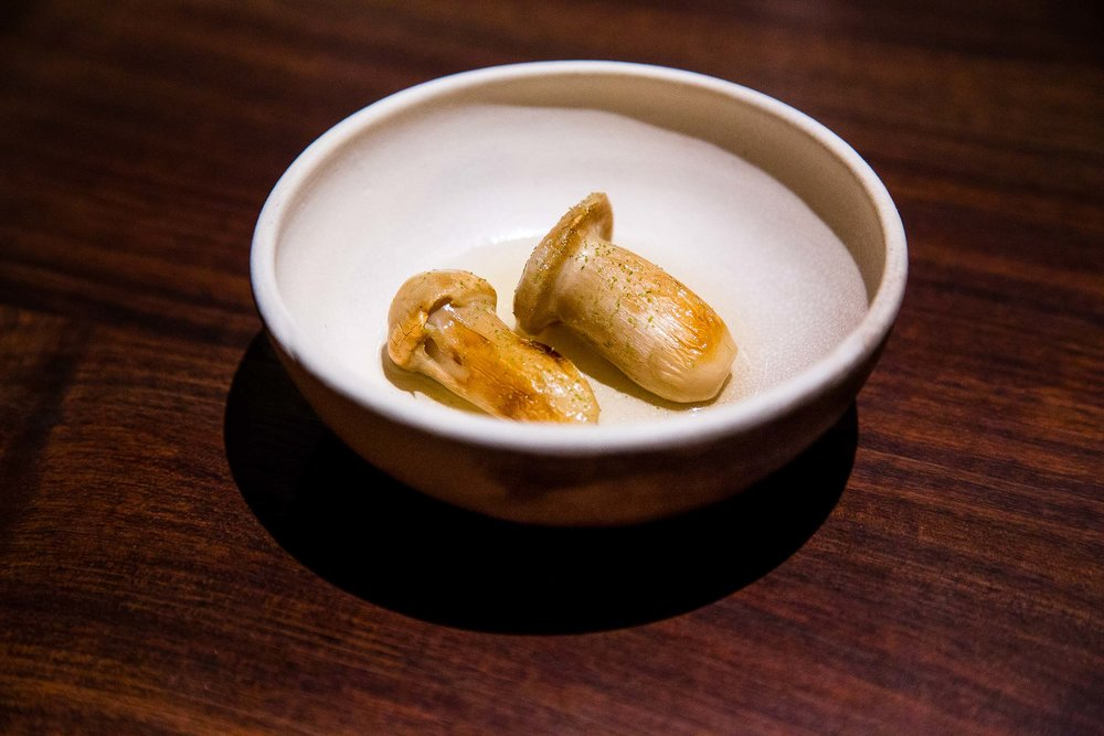Matsutake mushrooms with a pine broth.