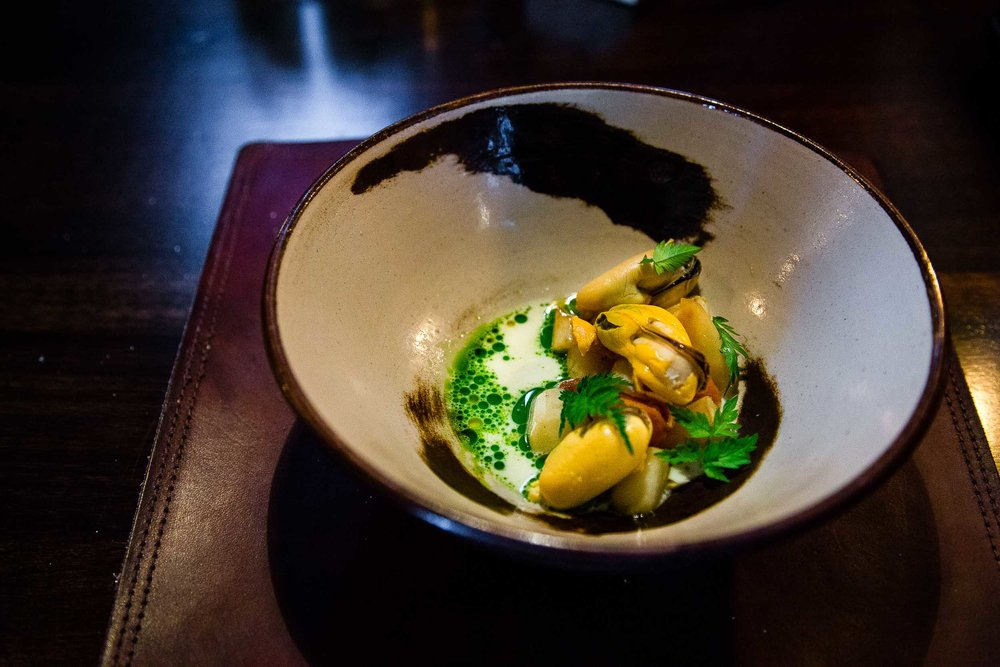Blue mussels, blue mussel cream, root vegetables, parsley