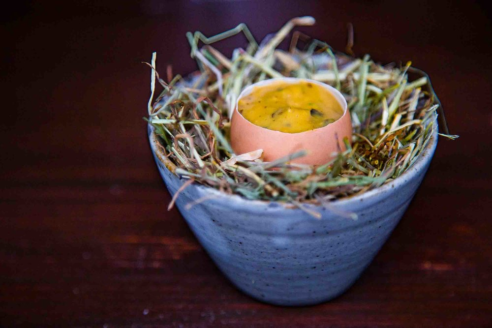 Coddled Egg with Smoked Butter and Toasted Mushrooms