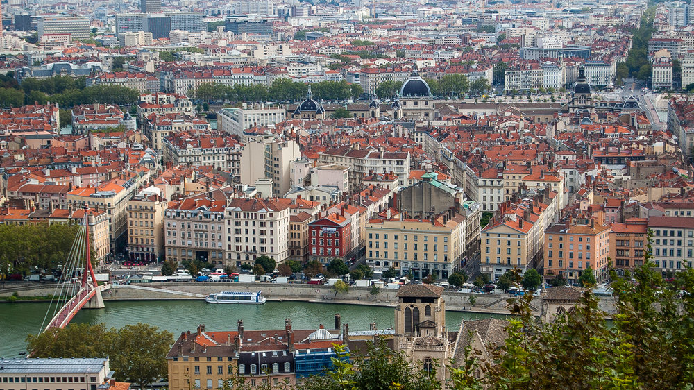 Lyon France Cityscape Aerial