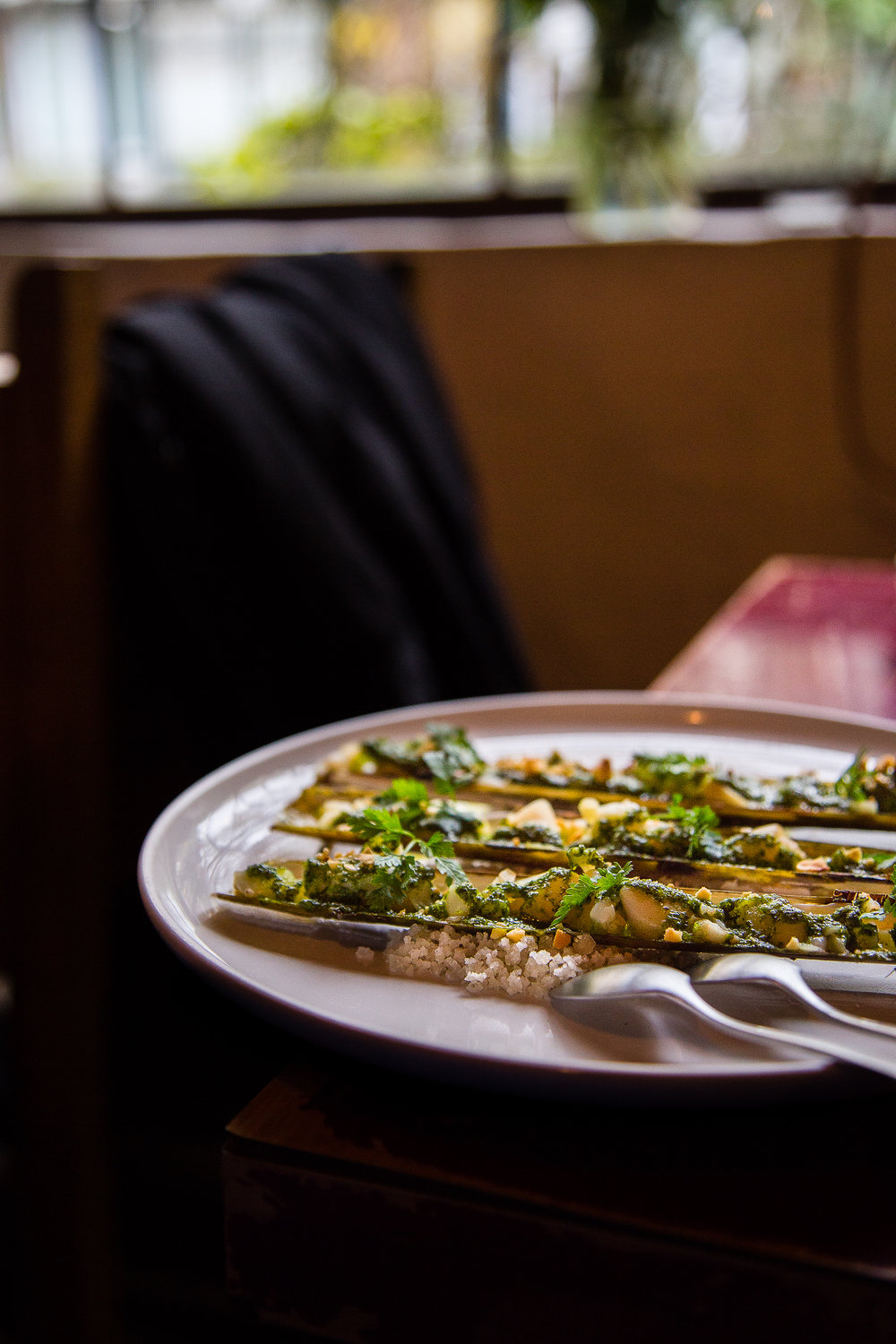 Razor Clams with Garlicky Herb Butter