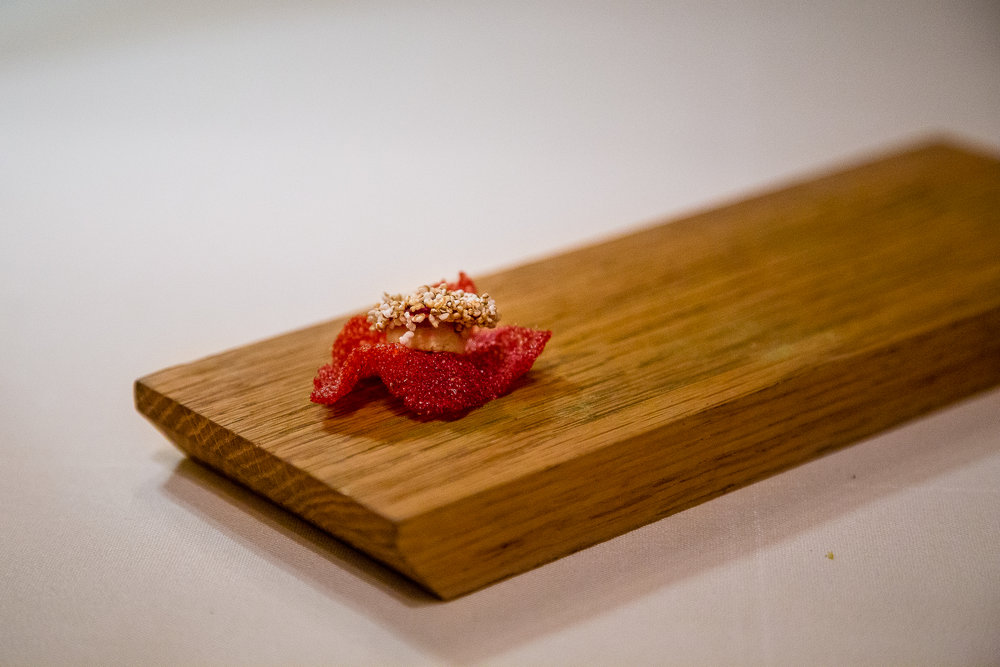 Beet Crisp with Cashew and Amaranth