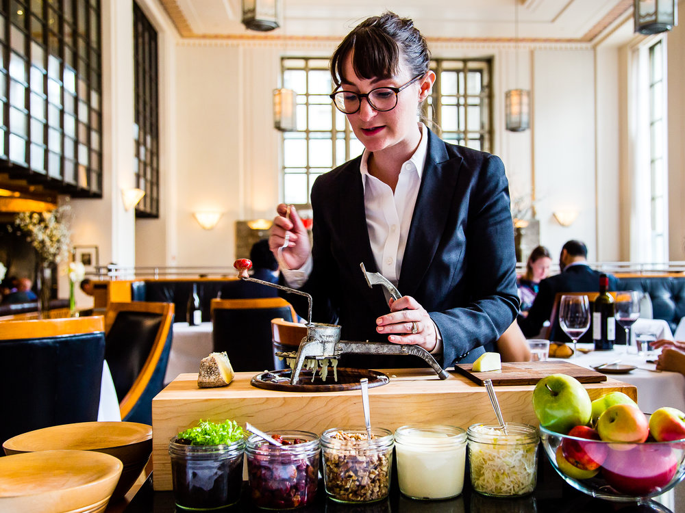 Table-side service for the Waldorf salad