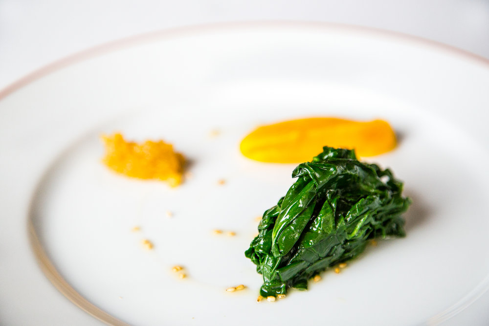 Spinach with Sesame, Carrot Mousseline, and Candied Lemon