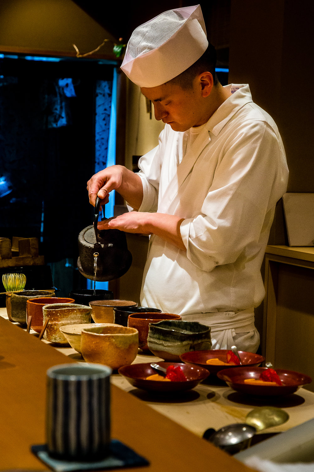 Ceremonial matcha is always a component of kaiseki in Kyoto. Look at those bowls !!