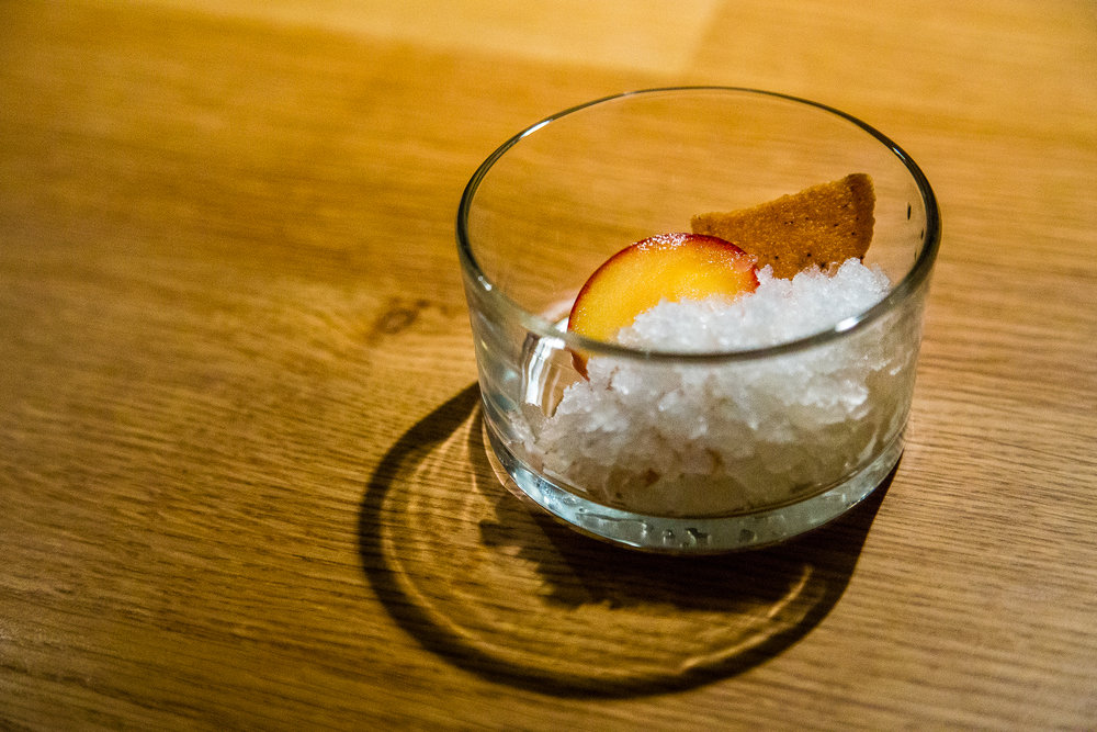 Yuzu Granita with Fresh and Dried Plums and White Chocolate