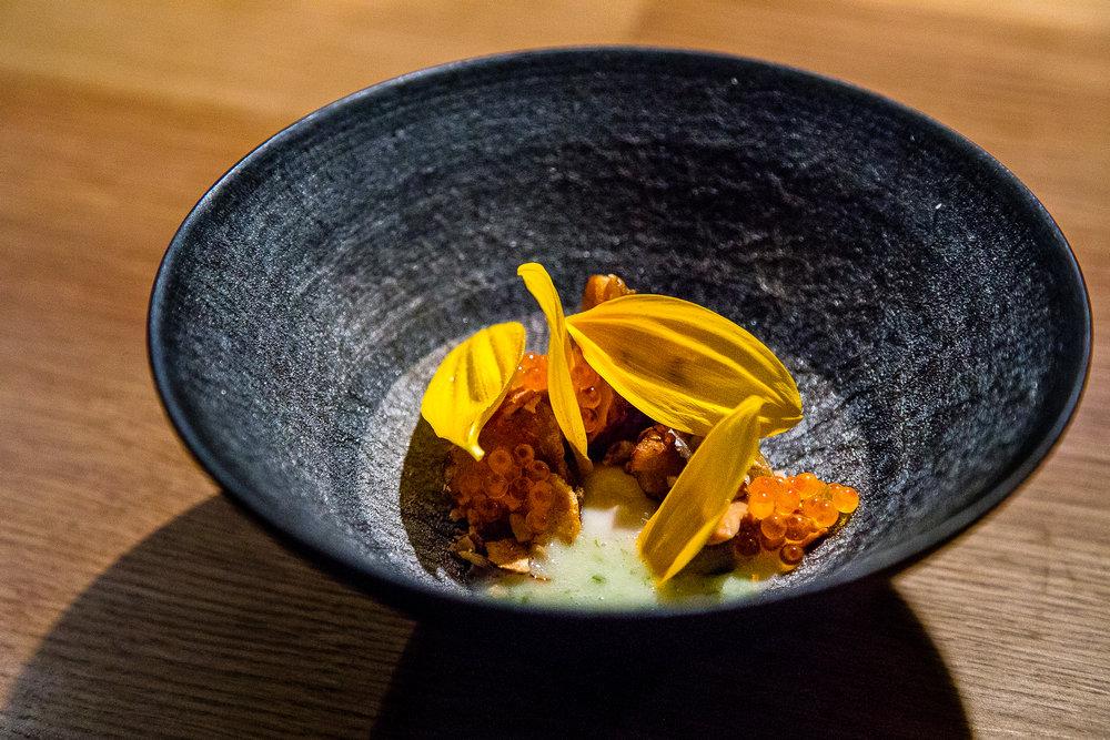 Jerusalem Artichoke with Sunflower, Trout Roe, and Warm Sea Lettuce Butter