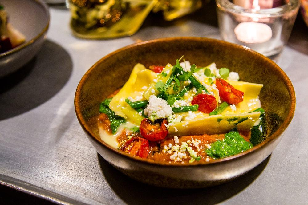 Agnolotti with Tomato Sauce and Pesto