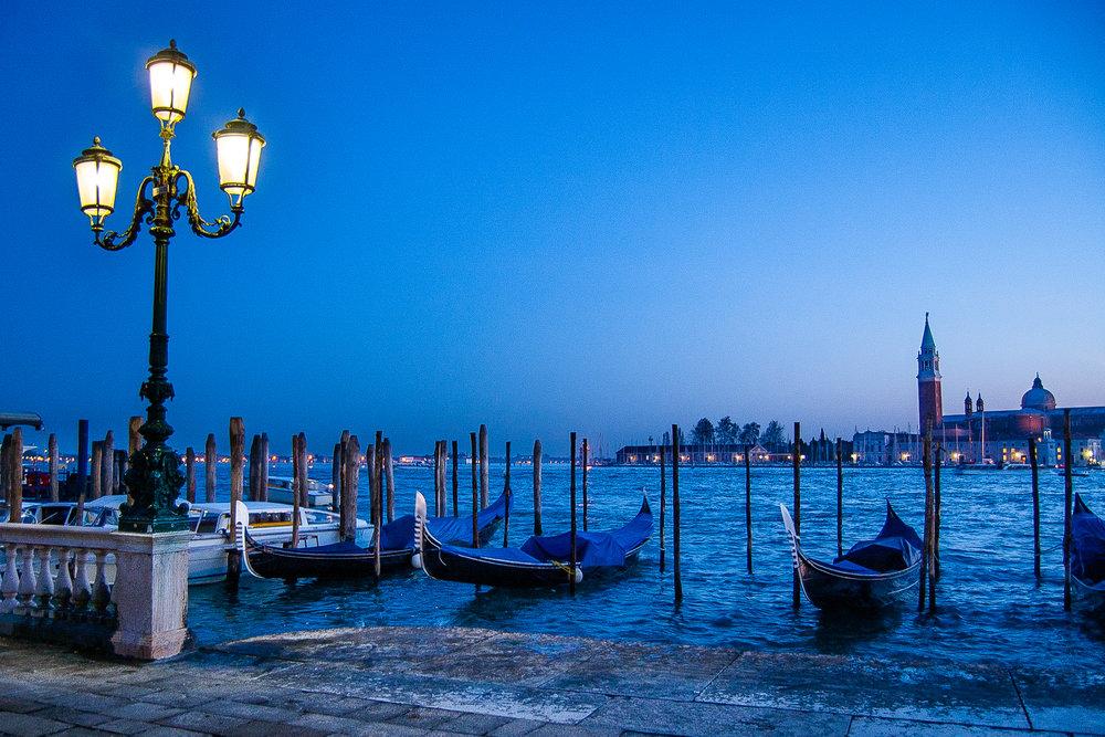 Venice Italy Gondolas Twilight