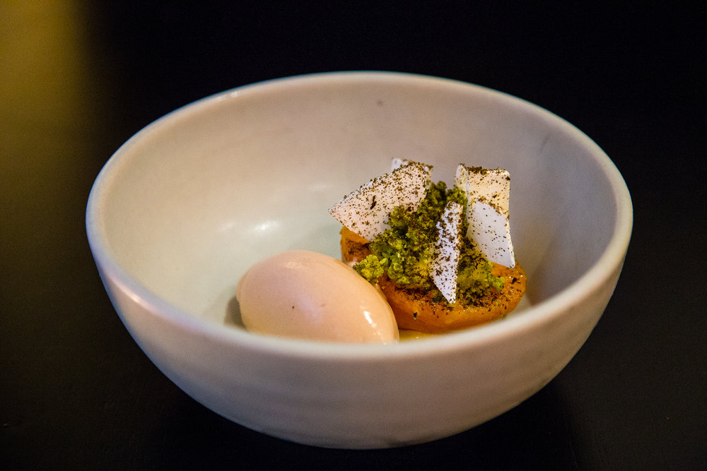 Poached Apricot, Peach Ice Cream, Passion Fruit Curd, Black Licorice Meringue