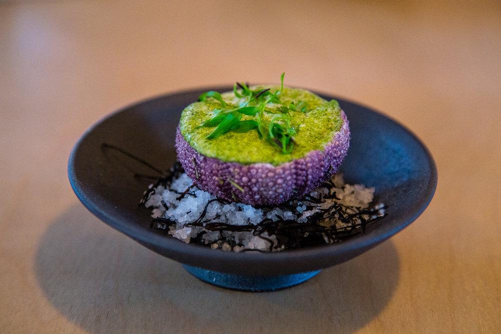 Potato, Mussels, Sea Urchin, Fermented Daisy Mushrooms