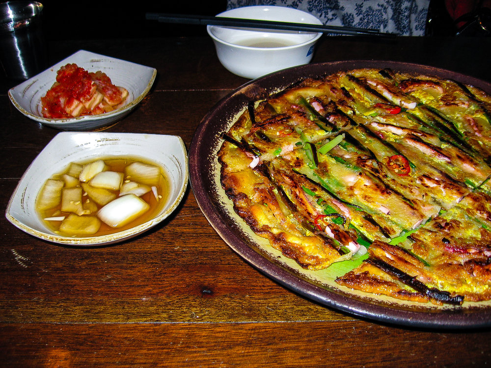 Pa cheon. I normally detest scallions, but these scallion pancakes were so different, really sweet, and not at all onion-y.