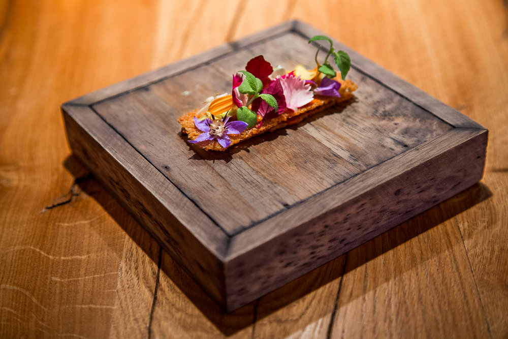 Crispy Biscuit with Herbs and Flowers