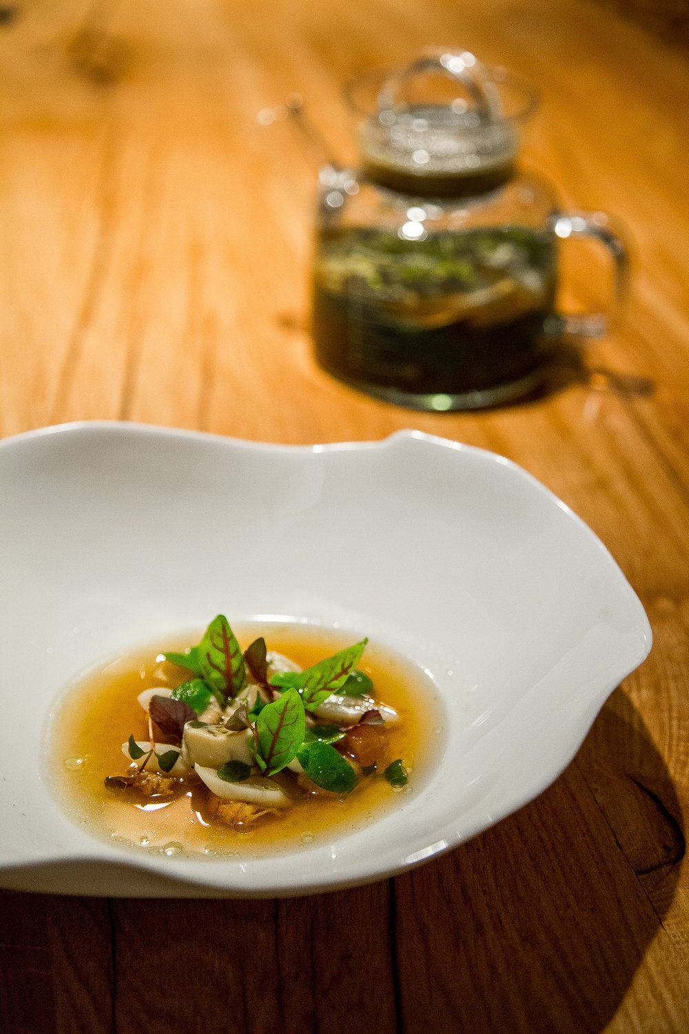 Gillardeau Oyster, Grey Prawns, Pineapple and an Oyster Shell, Miso Consommé