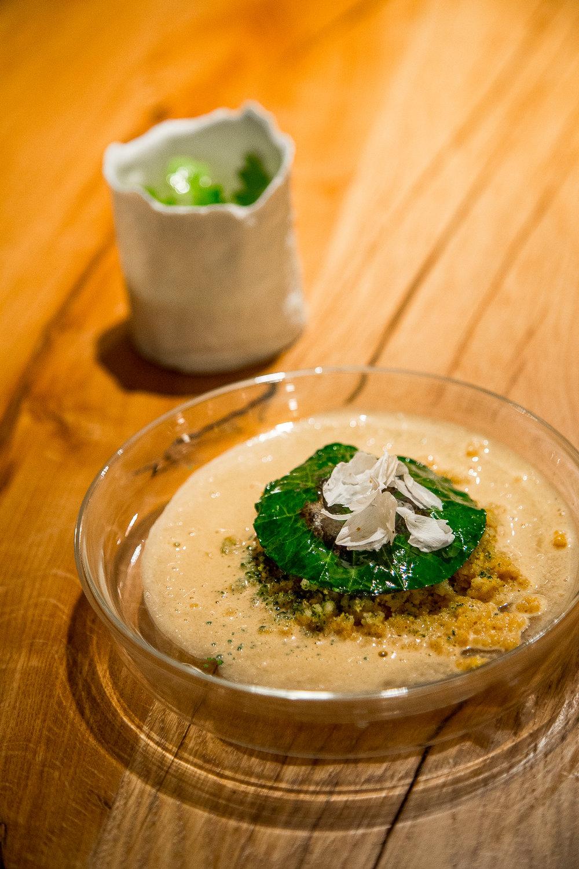 Torteau Crab, Orange Flower Couscous, Fish Soup