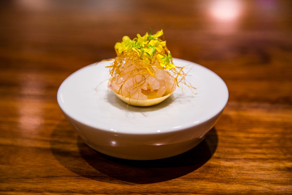 Tartlet of Red Sea Bream, Young Ginger, Mustard Flower Blossoms, Crispy Kelp