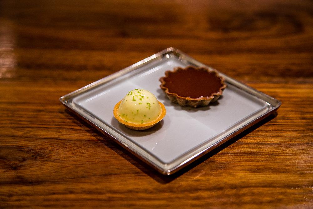 Finger Lime Tartlet and Chocolate Tartlet