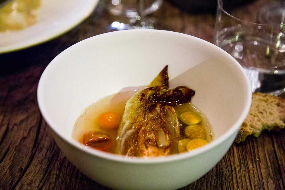 Grilled Cabbage with Tomato Consommé