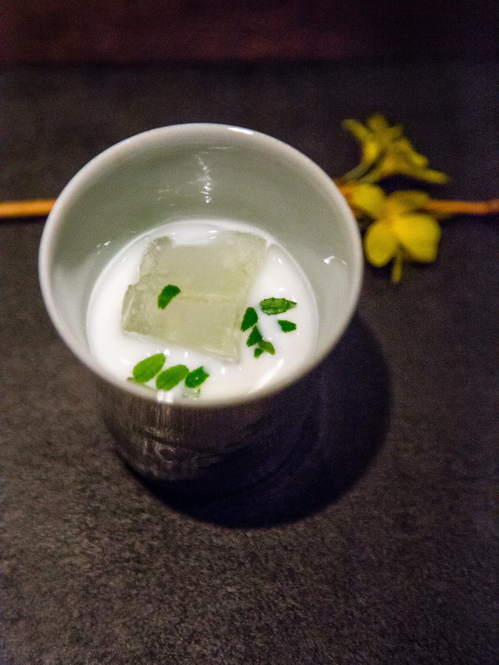 Old koji dessert sake, milk steeped with fava beans (It sounds like it would be weird, but this was my favorite!)