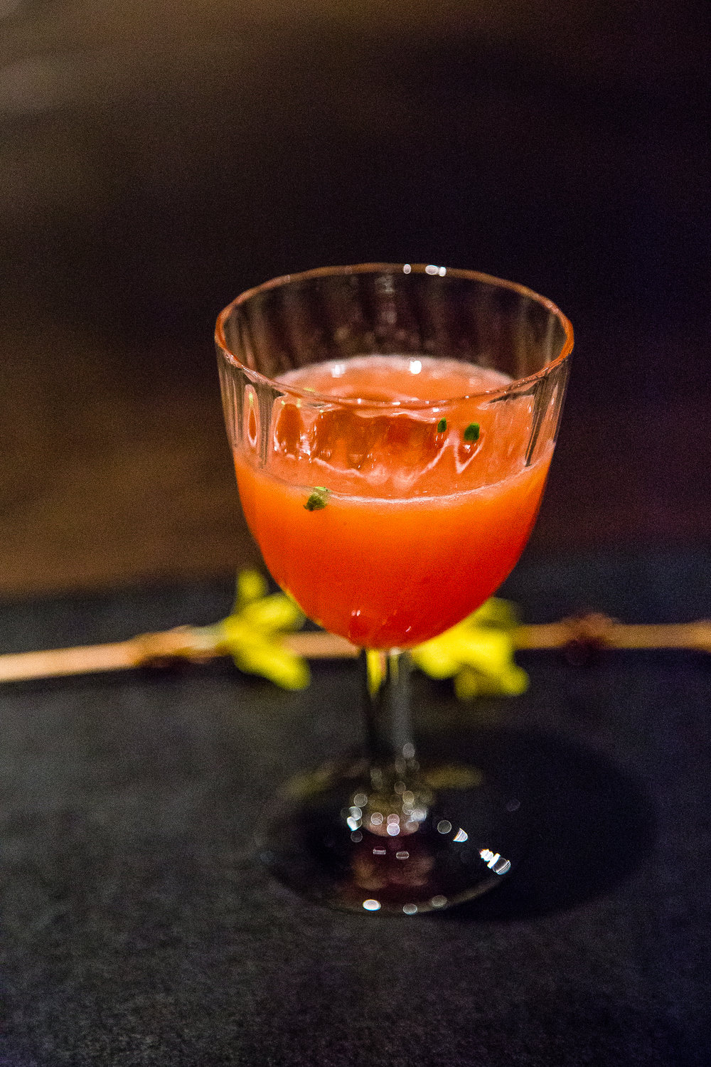 Strawberry, sweet potato shochu, flowers