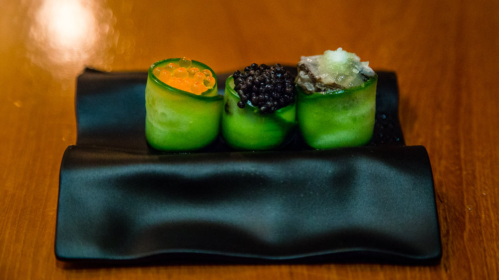 Oyster Roe, Fermented Cucumber, Creme Fraiche