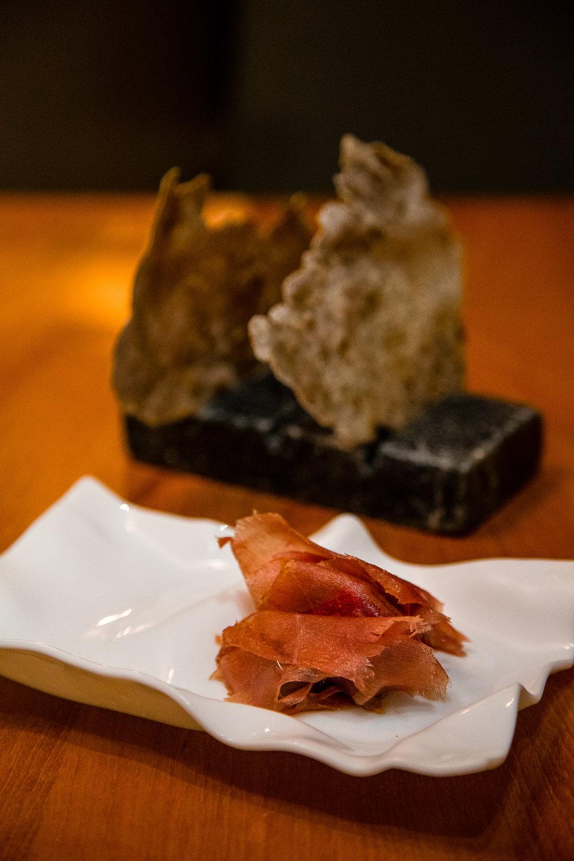 Bluefin Tuna 'Ham', Eggplant, Sun-Dried Tomatoes, BuckwheatCrackers