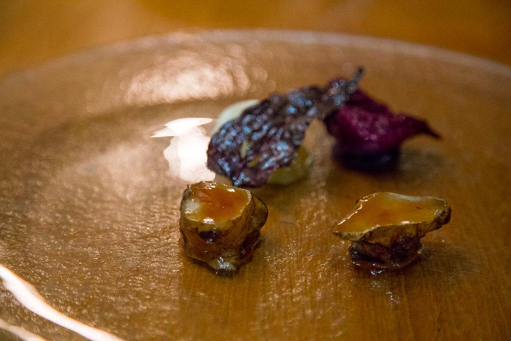 Grilled Sunchoke, Coffee Glaze, Turnip. Yuzu, Mountain Spinach, Elderberry Glaze?