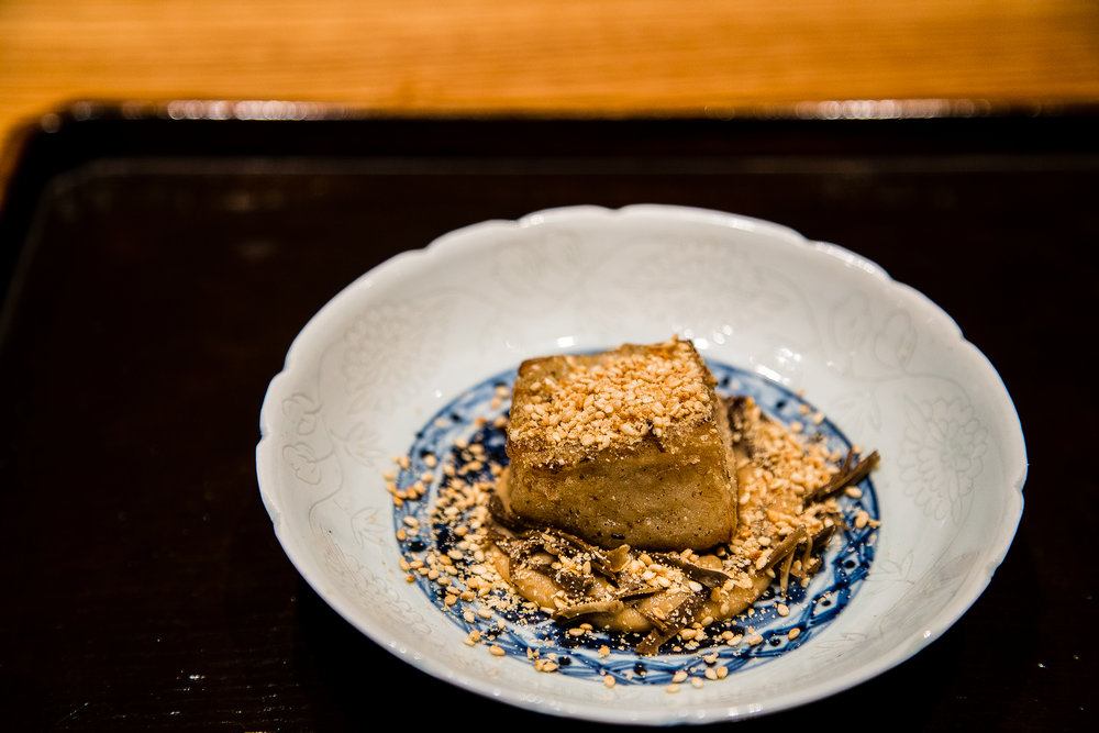 This is goma tofu, a type of tofu made out of sesame. It has a texture a closer to mochi, and when done right, it has this beautiful, rich nuttiness. It's my favorite, and here, it was especially delicious.