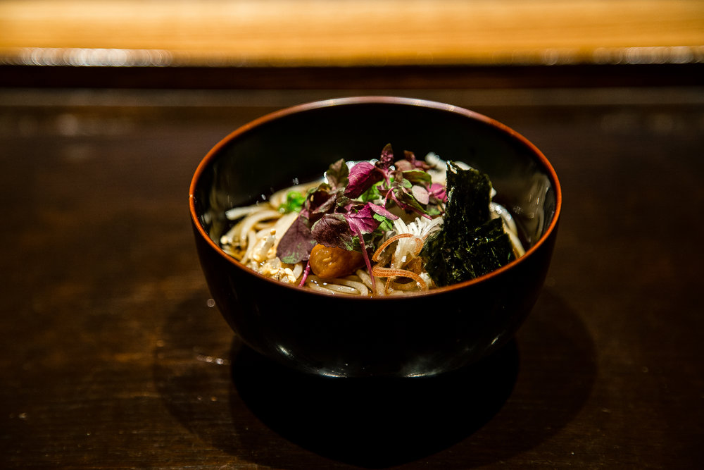 Chilled soba with pickled plum, daikon, nori, sesame, shiso. Dinner here usually comes with a choice of rice or soba, but the next level omakase includes both. Obviously I chose the option with more food and more carbs.