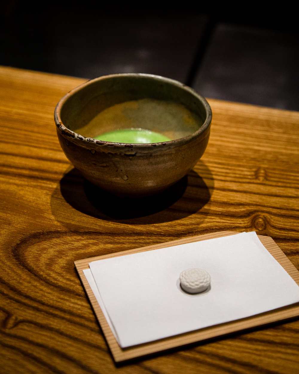 Ceremonial matcha from ippodo with a small sugar candy from Kagizen-Yoshifusa in Kyoto