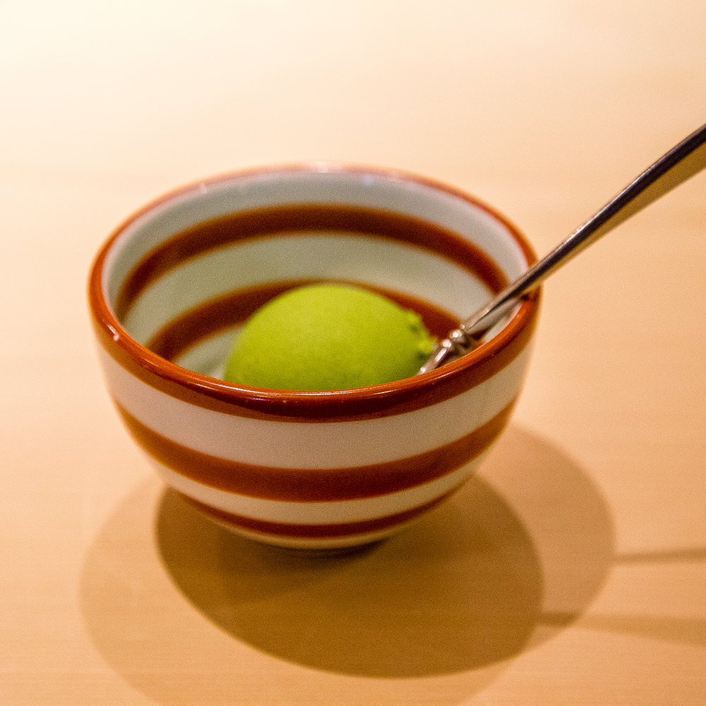 For dessert: matcha ice cream, served in a Where's Waldo bowl
