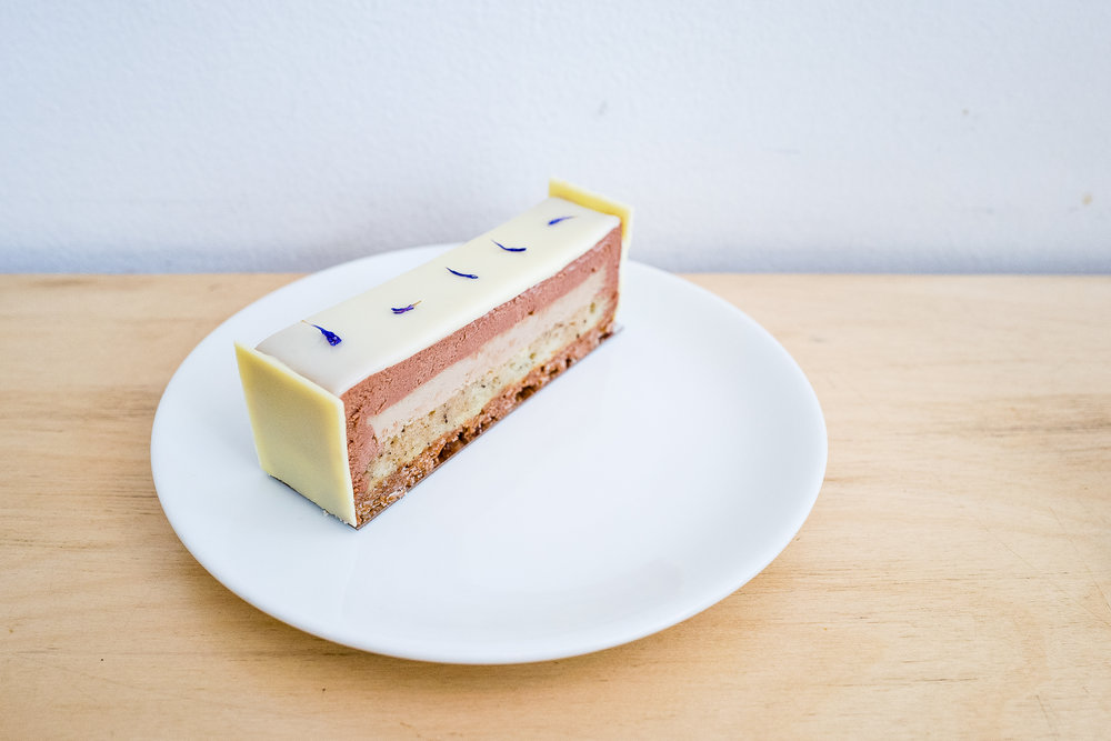The Earl: milk chocolate Earl Grey infused mousse, bergamot crémeux, vanilla sponge, crispy feuilletine.