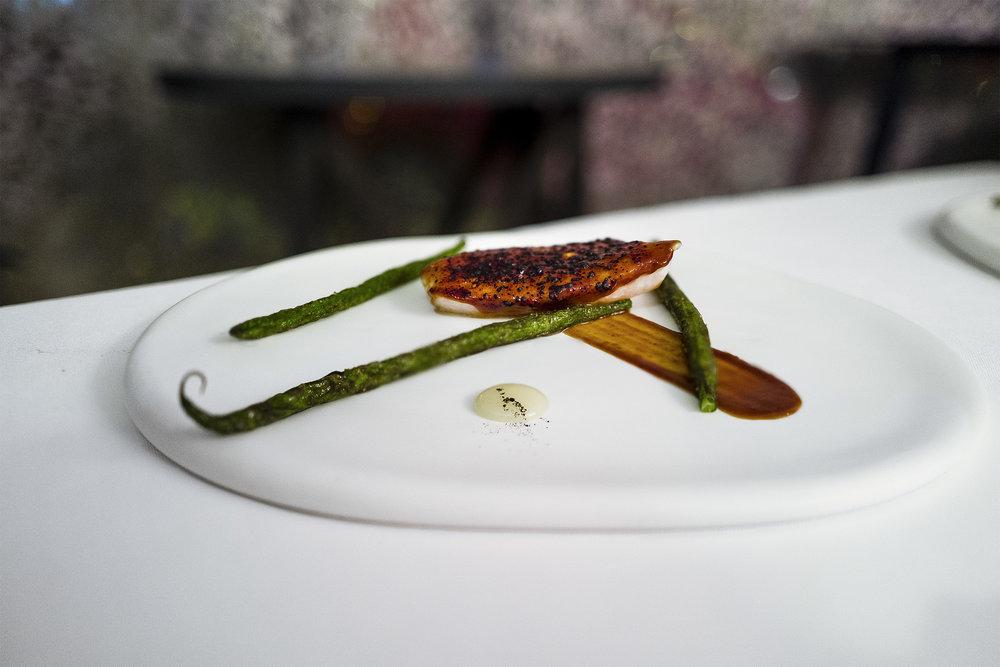 John Dory with Miso Glaze, French Beans, Lemon Sauce
