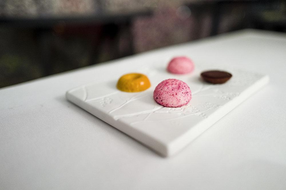 Hibiscus, Raspberry, Lychee Marshmallow. Chocolate and Caramel Tart. Honeycomb.