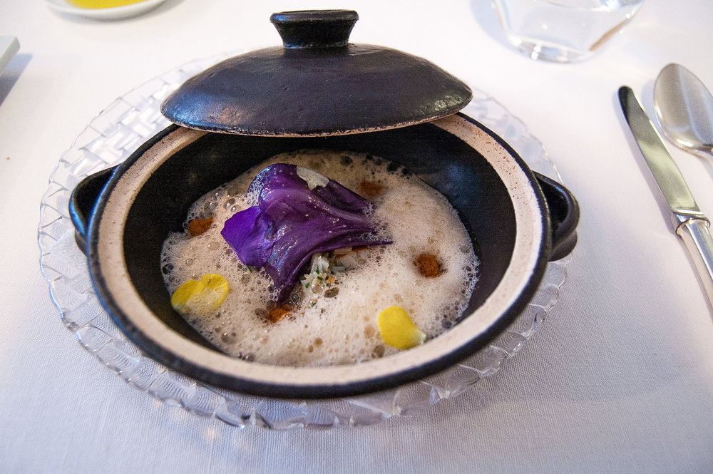 Crab dish inspired by Japanese clay pot cooking.