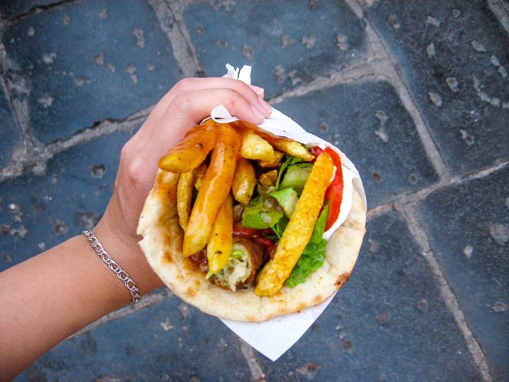 Ugh, the food was sooo good. This is a gyro, which always come with fries inside. This is a vegetarian version, which comes with zucchini fritters in place of meat: an excellent substitution, in my opinion.
