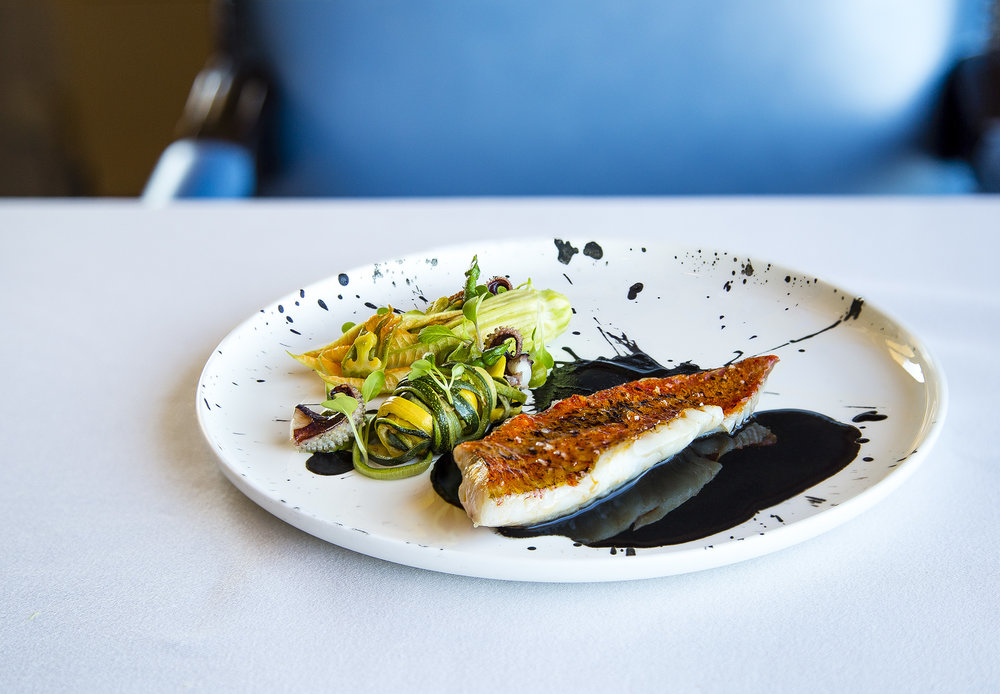 Seared and Braised(?) Red Mullet, Courgette, Zucchini Flower Filled with Cuttlefish Tartare, Sauce fo Cuttlefish Ink