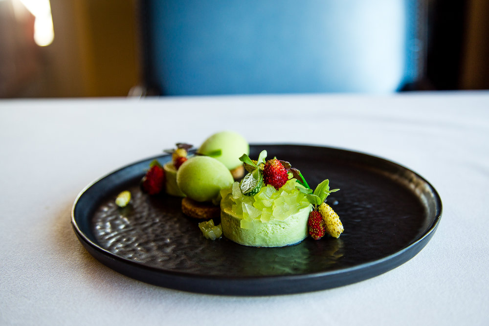 Avocado Mousse; Cucumber and Apple Tartare; Basil, Coriander, Fennel, and Green Apple Sorbet; Pastry (Brazilian) made of Peanut; Wild Strawberry; White Chocolate Leaf.