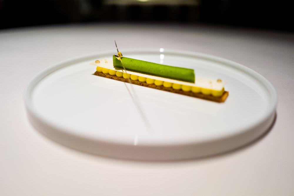 Basil Sorbet, Lemon Chantilly, Hazelnut Sablè
