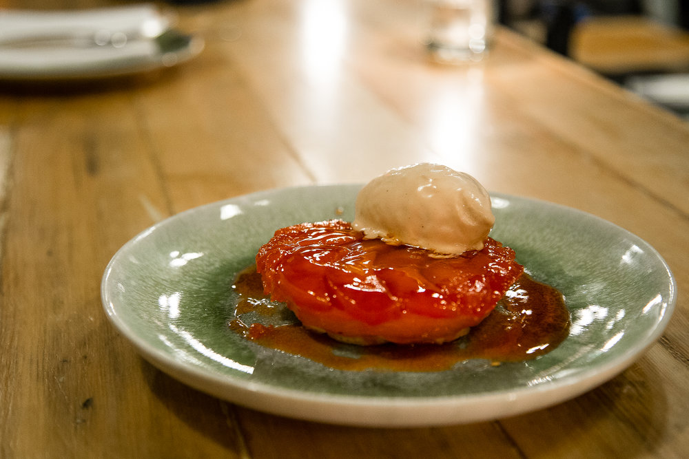Quince and Rhubarb(?) Tart with Bourbon Brown Butter Ice Cream