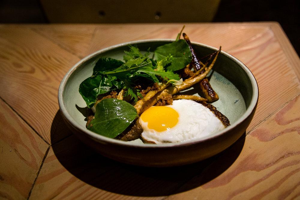 Fried Egg. Roasted Parsnips (?). Mushroom Duxelle