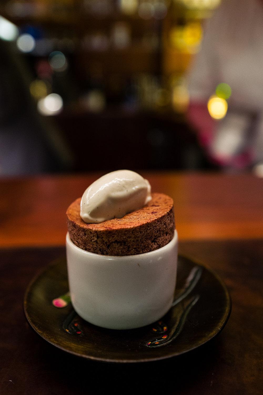 Chocolate Souffle, Banana Ice Cream
