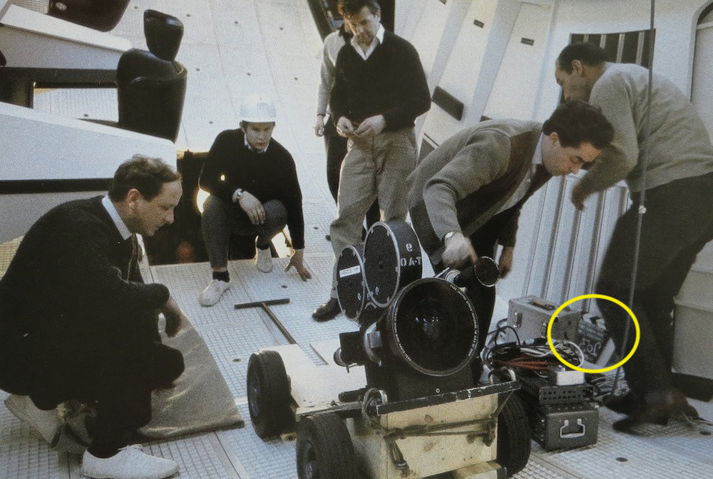 Kubrick's  2001: A Space Odyssey  (1968)  Look at that slate, within arms reach of the camera!