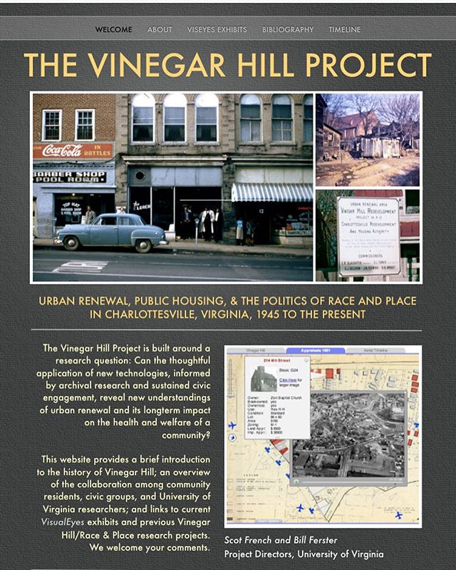 Interested in learning more about race & place politics in Charlottesville? Check out the Vinegar Hill Project (vinegarhillproject.org), a collaborative #digitalhistory project from the University of Virginia. #historyrelevance #DH #digitalhumanities #UVA