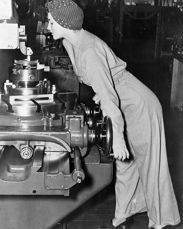 "#historyrelevance in the news: Naomi Parker Fraley, the ""real Rosie the Riveter,"" died this week at age 96. Dr. James J. Kimble sought her identity for years. This 1942 photograph of Naomi Parker Fraley at work at the Naval Air Station in Alameda, CA, was the likely inspiration for the iconic poster. Credit: Getty Images #rosietheriveter #womenshistory #WWII #1940s"