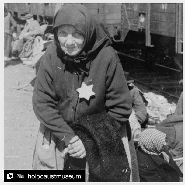"Repost from @holocaustmuseum: ・・・ ""Sometimes I am asked if I know 'the response' to Auschwitz;... not only do I not know it, but I don't even know if a tragedy of this magnitude has a response.""- Elie Wiesel  After going through the selection process upon arrival at Auschwitz-Birkenau, Perla Schwartz, an elderly Jewish woman from Subcarpathian Rus was selected for death. She waits on the ramp to be taken to the gas chambers.  The Auschwitz concentration camp complex was established in the Spring of 1940 near German-occupied Oswiecim, Poland, consisting of three main camps: Auschwitz I, Auschwitz-Birkenau, and Auschwitz-Monowitz.  By the end of January 1945, when Soviet Troops liberated the remaining prisoners in Auschwitz, approximately 1.1 million people had been murdered.  Today, marks the 73rd anniversary of the liberation of #Auschwitz.  #AskWhy #WeRemember #NeverAgain #PostThePeople"