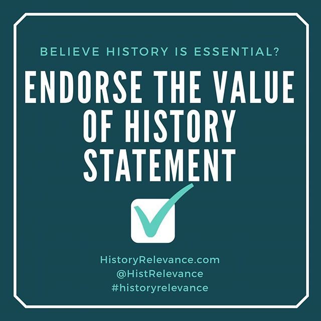Do you believe history isn't just nice, it's essential to creating engaged citizens and strong communities? So do we! Show your support by endorsing the Value of History statement today! HistoryRelevance.com