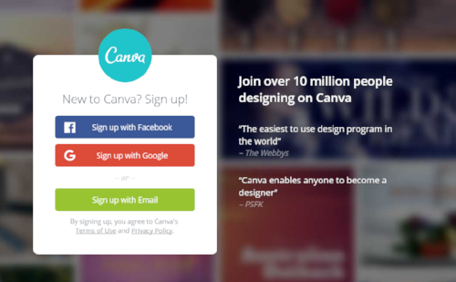 Canva.com free sign up