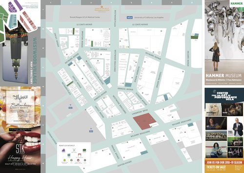 90024 Zip Code Map.Walking Map Westwood Village