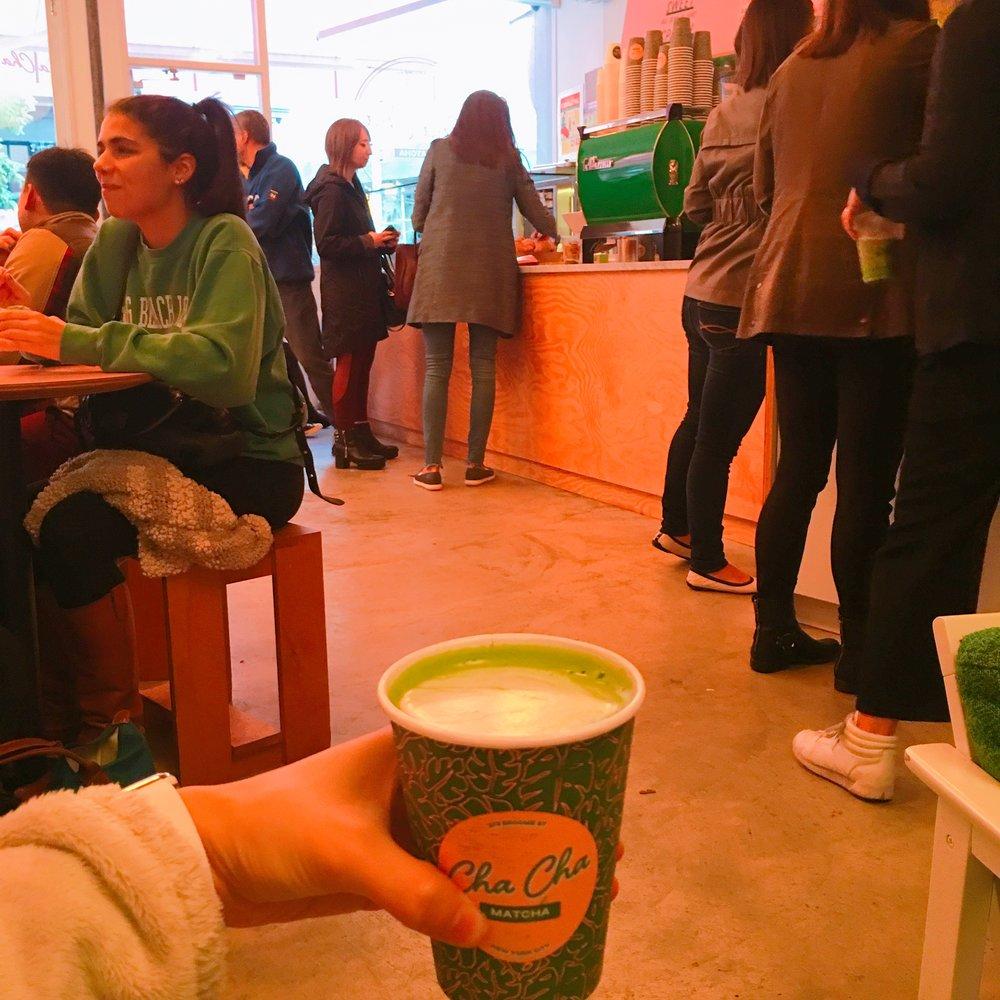 Coconut matcha latte. In love with their bright green espresso machine!